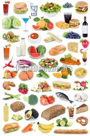 collage spise og drikke baggrund sund