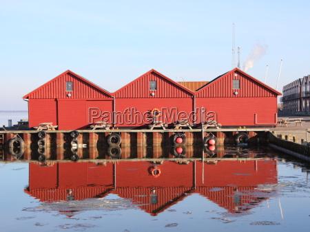 by vinter refleksion europa havn danmark