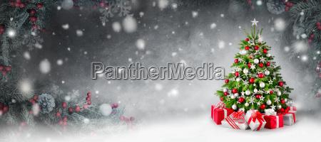 christmas baggrund med juletrae og gaver