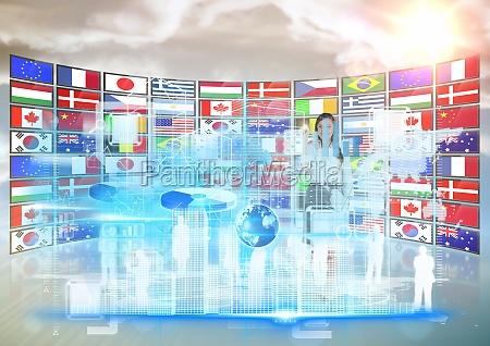 panel med flag solnedgang forretningskvinde gor