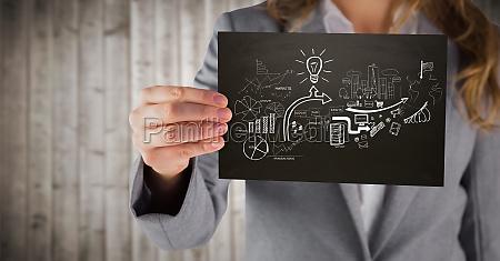 business kvinde midt afsnit med sort
