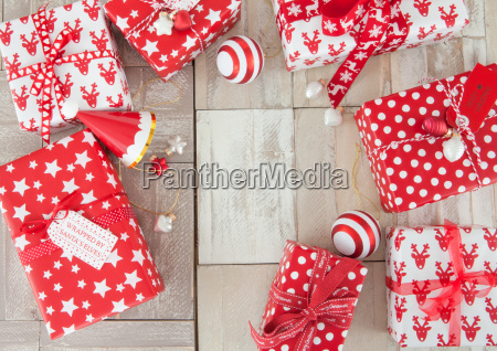 red white packaged gifts