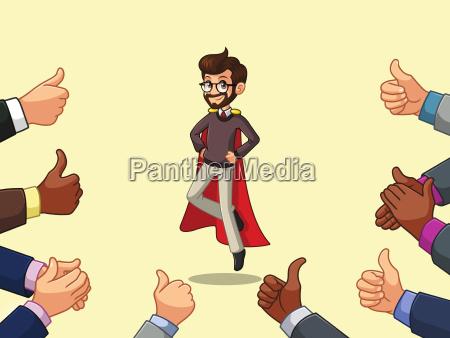 hipster superhero businessman cartoon character design