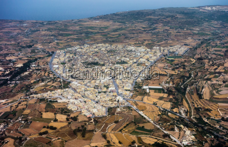 aerial view of siggiewi in malta