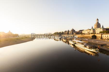 germany dresden elbe river with bruehls