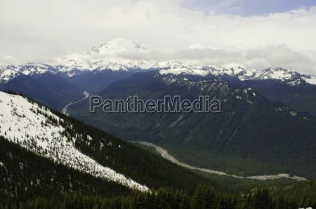 landskab med bjergkaede i baggrunden