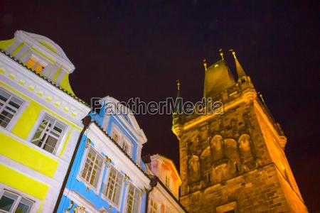 charles tower at night prague