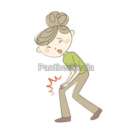 ung kvinde lider af knaesmerter