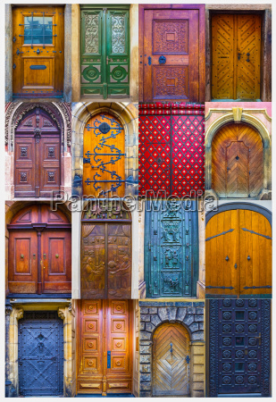 collage of medieval front doors