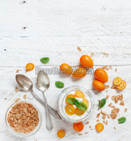 chia pudding parfait with kumquat