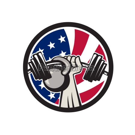 american hand barbell kettlebell usa flag