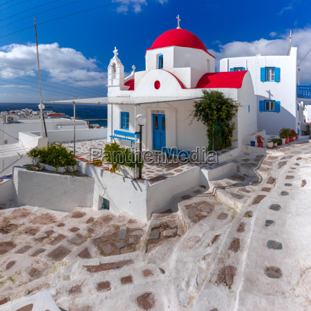 typical greek white church on island