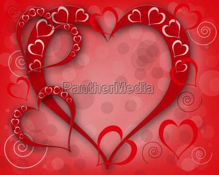 illustration med hjerter valentinkort