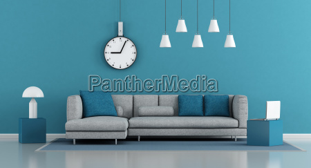 bla minimalistiske stue