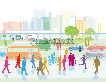 storby med mennesker i byen