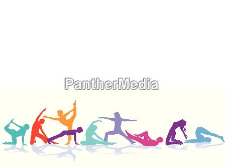 saude feminino ilustracao figuras meditacao esporte