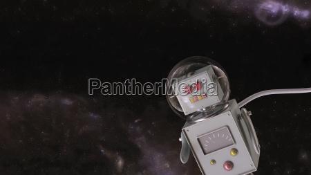 robot i universet 3d rendering