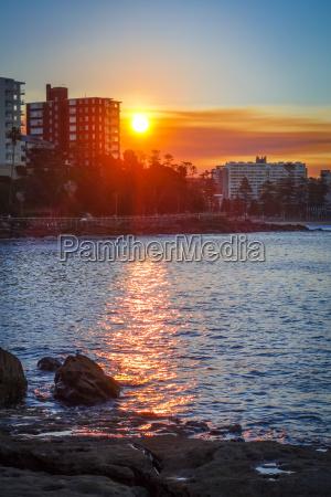 manly beach ved solnedgang sydney australien
