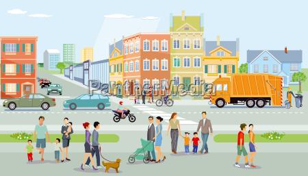 by med fodgaengere og trafikillustration