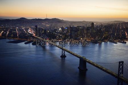 aerial view of bay bridge and