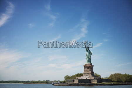 distant view of statue of liberty