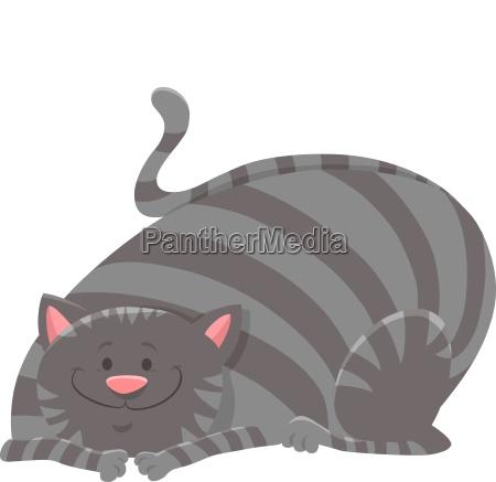 happy tabby cat cartoon animal character