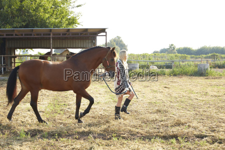 woman holding horse and walking in
