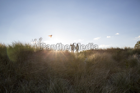 couple flying kite while standing on