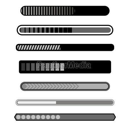progress loading bar grey icons isolated