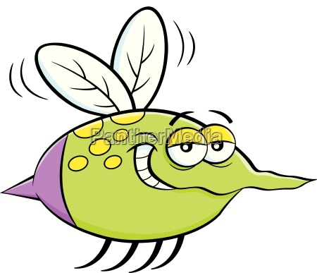 cartoon illustration of a flying insect