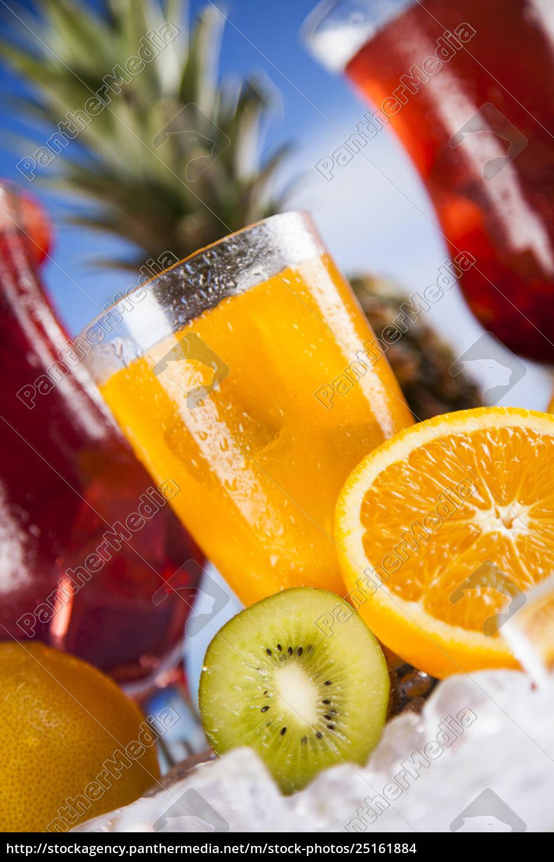 sommer, drink, palme, gren, og, friske, tropiske - 25161884