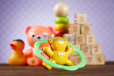 childrens of toy accessories on wooden