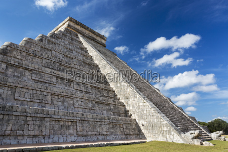 ancient mayan pyramid with two large