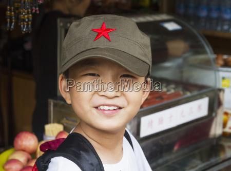 boy mount huangshan anhui china