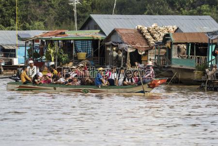 people in a public boat by