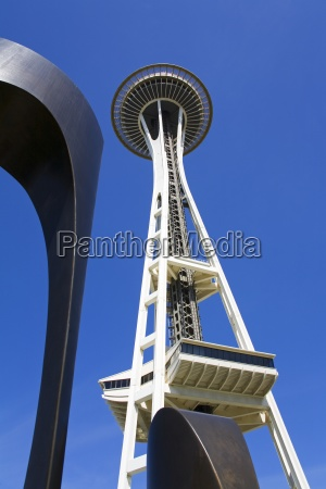 space needle and moon gates sculpture