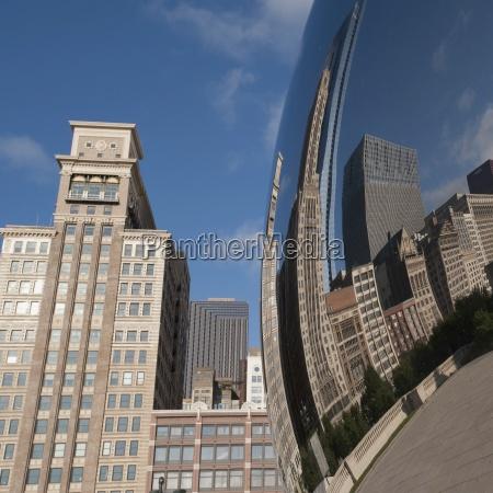 reflection of chicago illinois usa