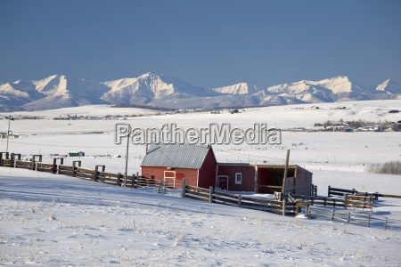 red barns in a snow covered