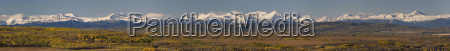 panorama of snow capped mountains with