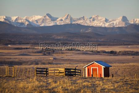 warmly lit red shack in field