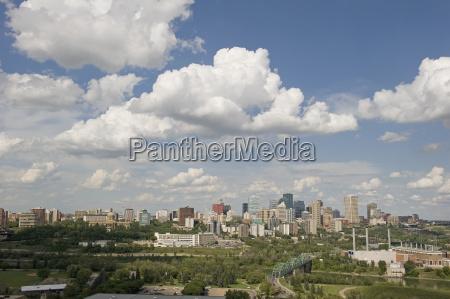 cityscape of edmonton with blue sky