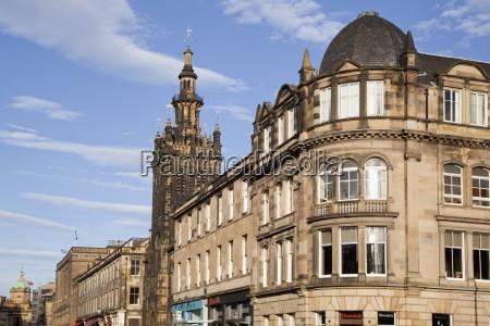 old buildings with blue sky edinburgh