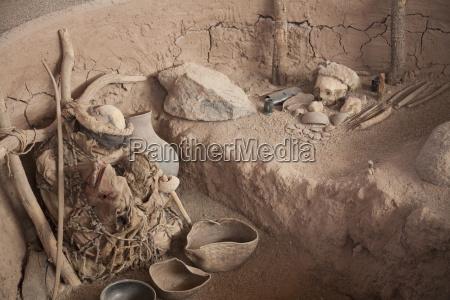 reproduktion af en landbrugers gravsted udstillet