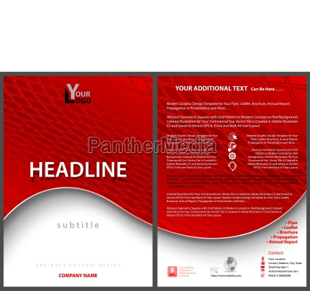 leaflet template with red wavy background