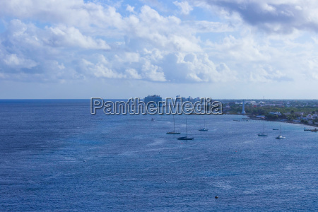 the coastline and port with blue