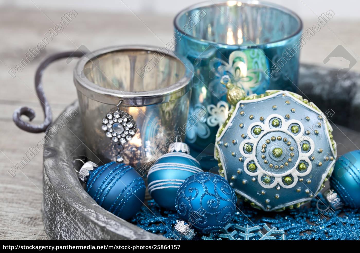 blue, christmas, ornament, still, life - 25864157