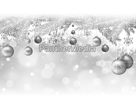 silver christmas background with branches and