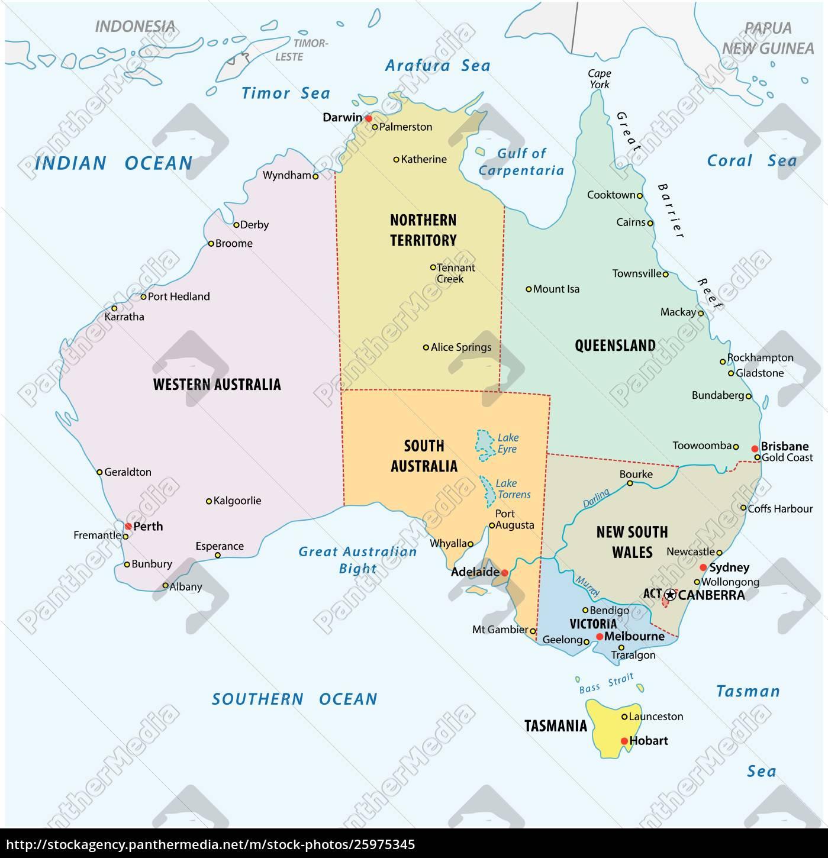 Simpelt Vektor Skitse Kort Over Australien Royalty Free Image