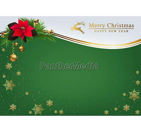 green christmas background with golden decorations