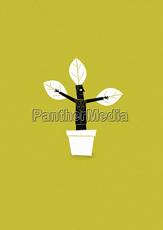 businessman growing in flowerpot